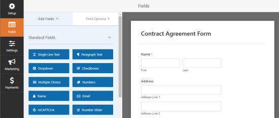 Aggiunta di nuovi campi al modulo del contratto