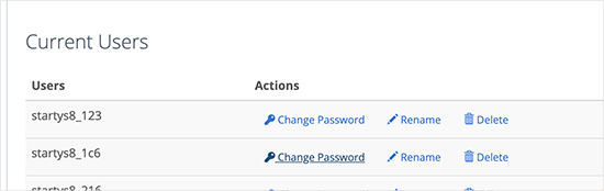 Changing database user password
