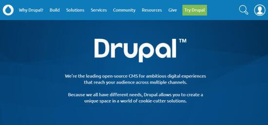 La prima pagina di Drupal