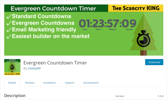 The Evergreen Countdown Timer plugin