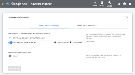 Enter a keyword into the Google Keyword Planner
