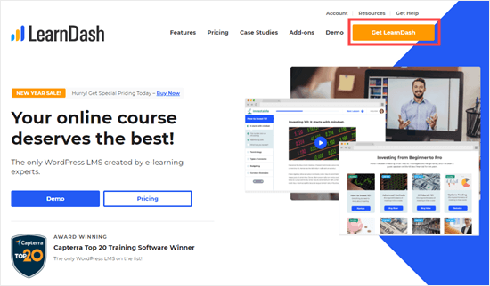 The LearnDash website homepage