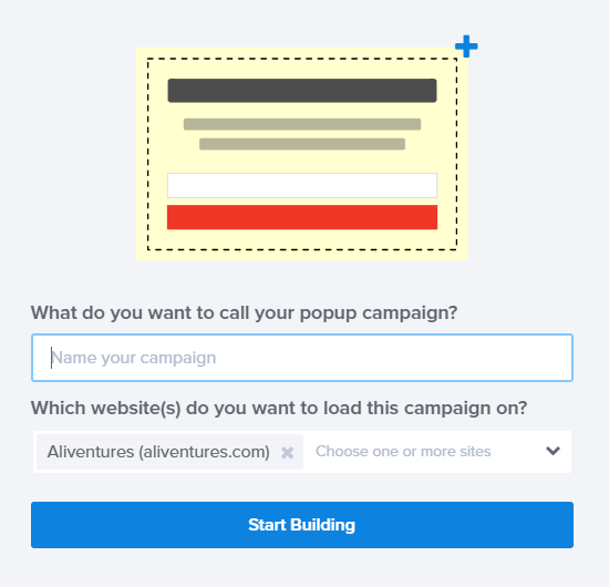 Name your coupon popup campaign and choose a site to run it on