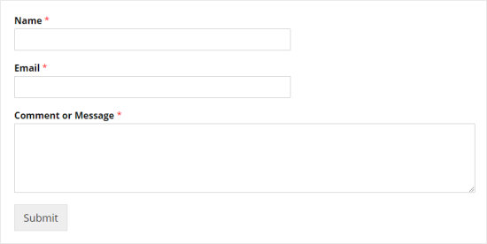 A simple contact form, showing fields for Name, Email, and  Comment or Message