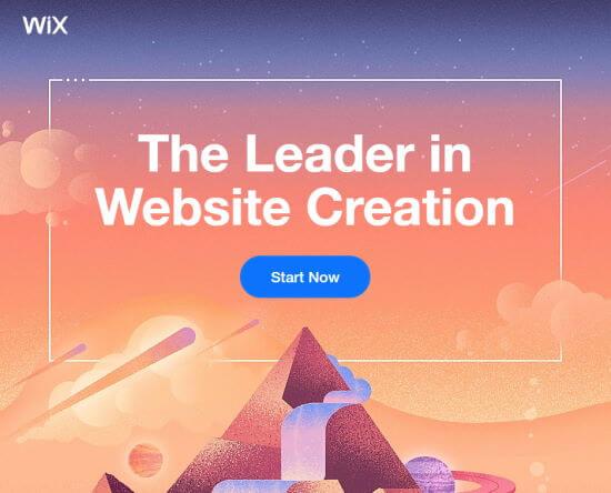 La prima pagina di Wix