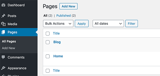 Publish blog and home pages in WordPress