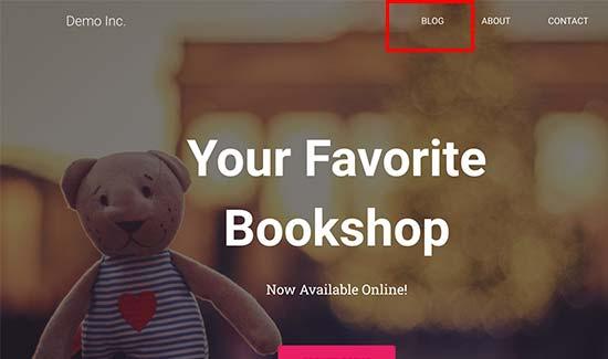 Link al blog nel menu di navigazione