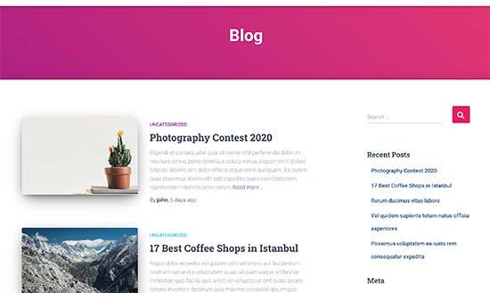 Anteprima della pagina del blog