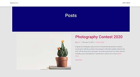 Modello di pagina del blog