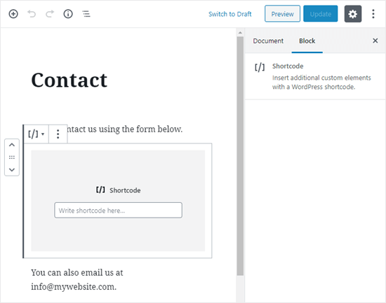 The converted contact page with a blank Shortcode block