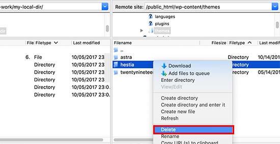 Deleting a theme via FTP client
