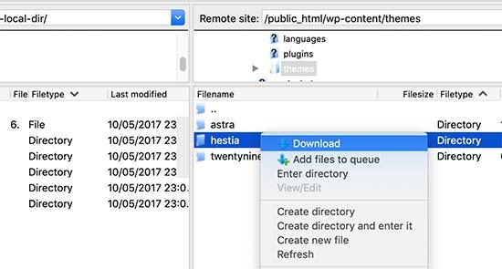 Scarica la cartella dei temi di WordPress sul tuo computer come backup