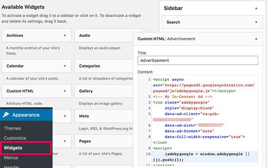 Incolla il codice Google AdSense nella barra laterale di WordPress