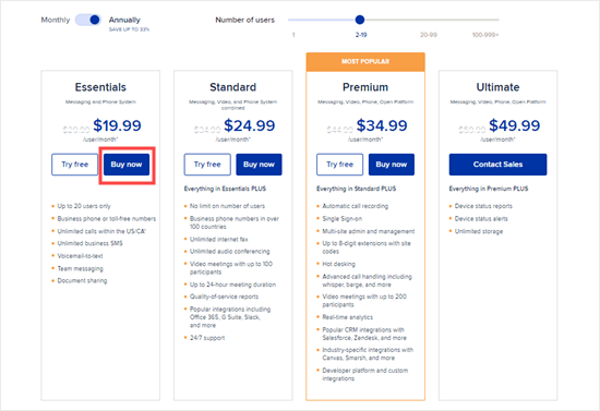 RingCentral's pricing plans