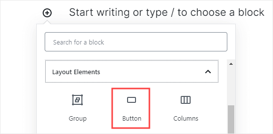 Adding a 'Button' block to your post or page in WordPress