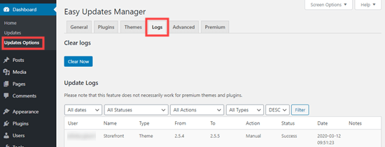 The logs tab of the Easy Updates Manager plugin