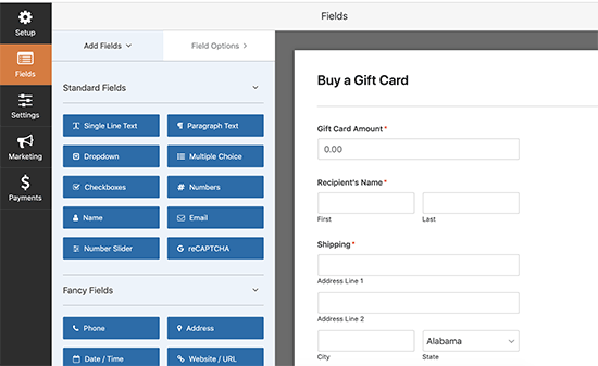 Edit your gift card order form