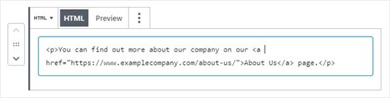 Visualizzazione del codice HTML per un blocco nell'editor di WordPress