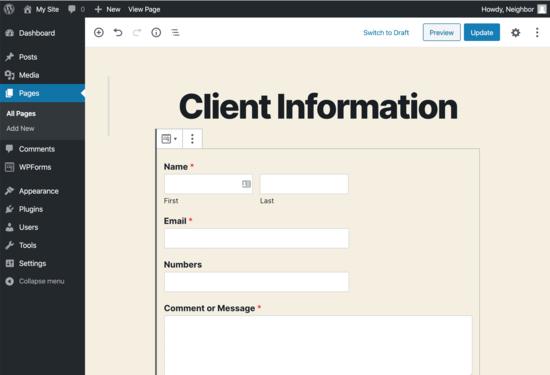 modulo di richiesta del cliente di personal training incorporato nella pagina di WordPress