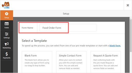 Naming your online food order form