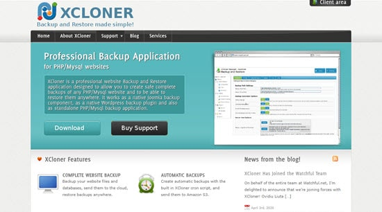 O plugin XCloner para WordPress