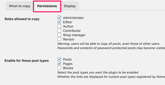 Duplicate Post permissions