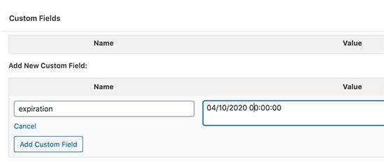 Aggiunta di una data di scadenza utilizzando il campo personalizzato