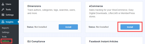 Installing the eCommerce addon for MonsterInsights
