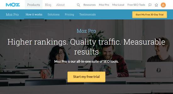 Pagina di iscrizione di Moz Pro