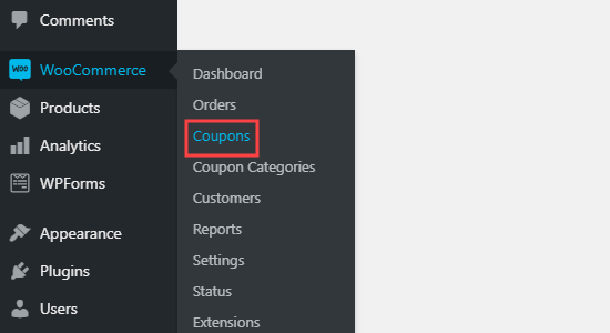 The WooCommerce Coupons tab in the dashboard