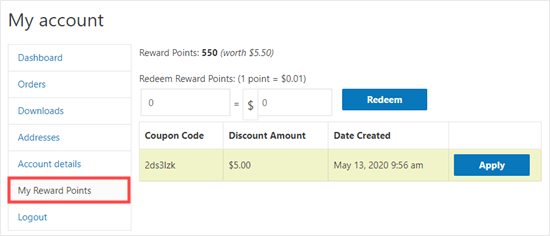 The customer can turn their earned points into coupons in their account