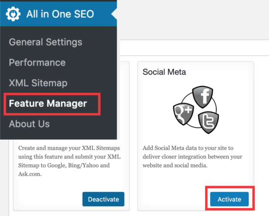 Social meta feature manager All In One SEO