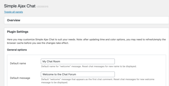 Default name of the chat room