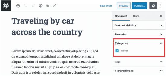 Limita le categorie nell'editor di WordPress