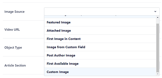 Choose which WordPress image to use as your Facebook thumbnail