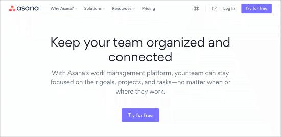 Home page di Asana