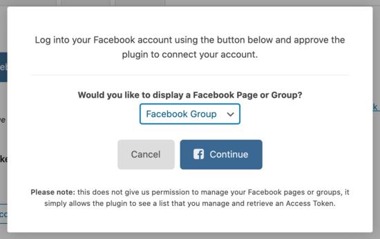 Collega il gruppo Facebook