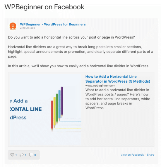 Facebook feed on the WordPress site