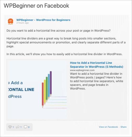 Feed di Facebook sulla pagina di WordPress