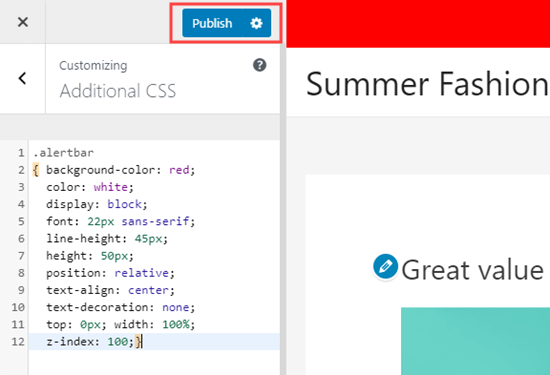 The additional CSS as displayed in the theme customizer