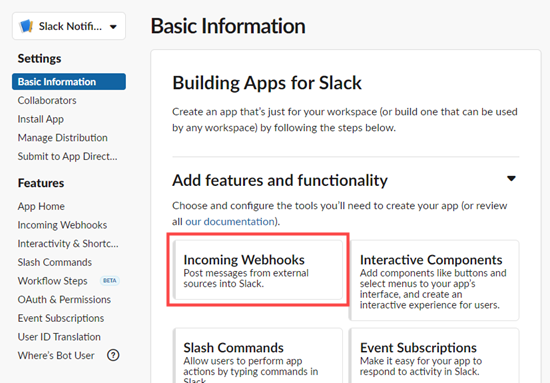 Click on the 'Incoming Webhooks' feature