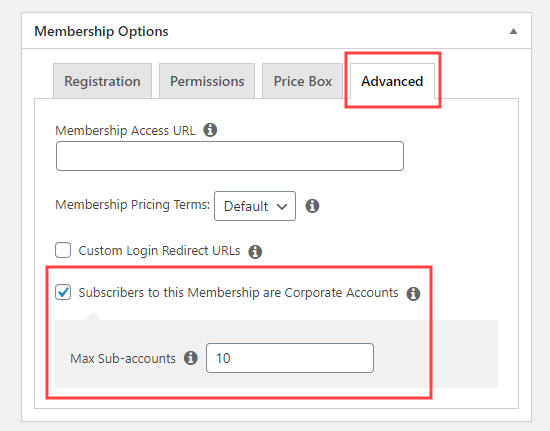 Check the box to create a Corporate Account membership and enter the number of sub-accounts permitted