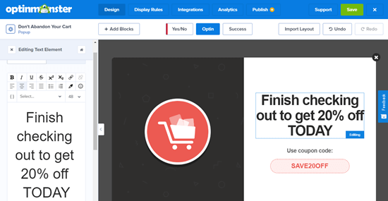 Changing the text of your WooCommerce cart abandonment popup