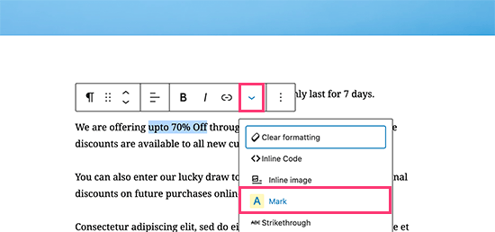 Highlighting text in WordPress using Advanced Editor Tools plugin