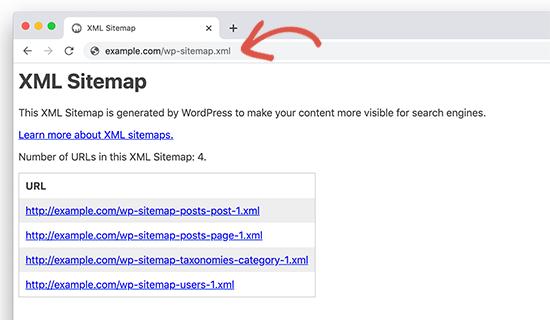 WordPress predefinito ha generato sitemap in WordPress 5.5