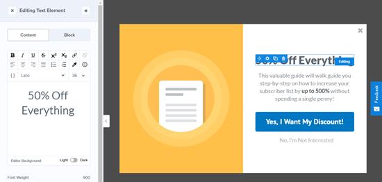 Editar el texto del encabezado para la vista Sí / No de su campaña OptinMonster