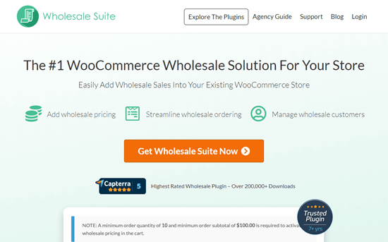 Le site web de la Wholesale Suite