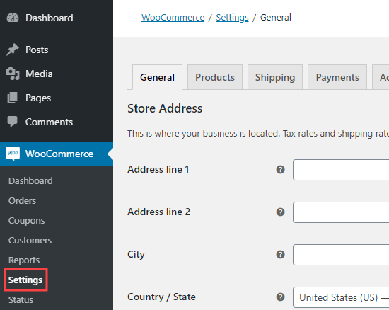 The WooCommerce settings page in your WordPress dashboard