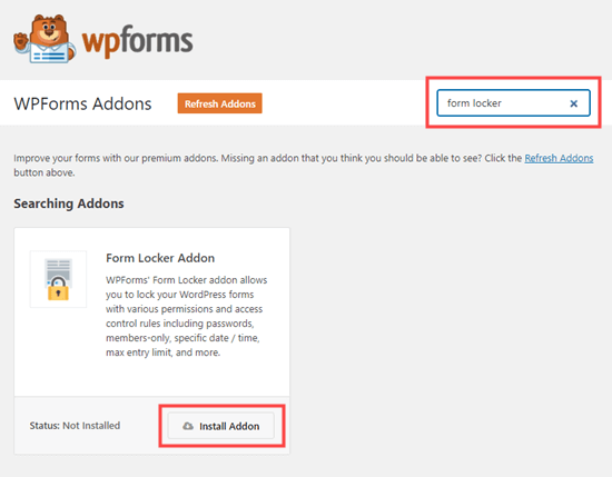 Installing the Form Locker addon for WPForms