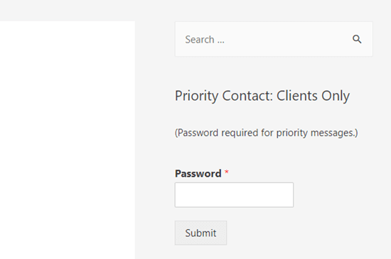 A password protected form in the WordPress site's sidebar